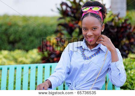Stock fashion model smiling