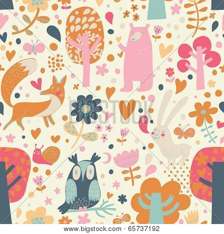 Cute floral seamless pattern with forest animals: bear, fox, owl, rabbit. Vector background with butterflies, snail, trees and flowers.