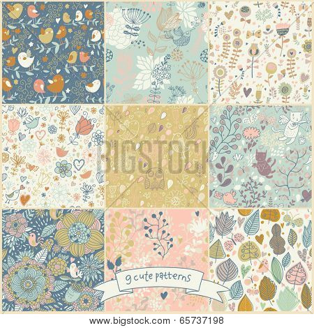Set of nine cartoon vintage seamless patterns with birds and butterflies. Retro vector backgrounds. Seamless texture can be used for wallpapers, pattern fills, web page backgrounds, surface textures.