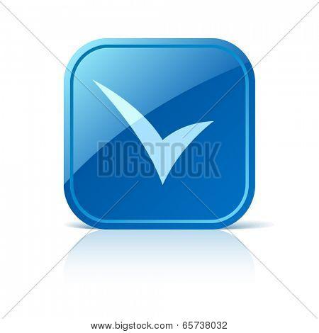 Check mark icon on blue web button