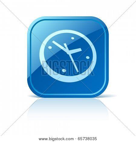 Clock icon on blue web button
