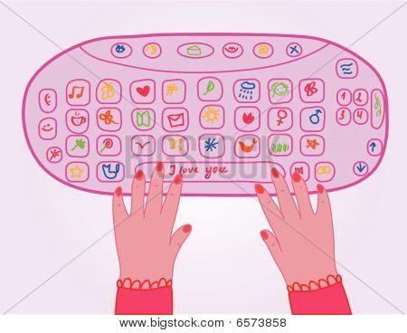 Cute girl pink keyboard