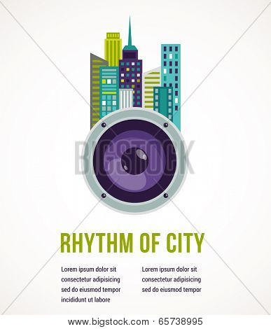 Music and city - amplifier and buildings landscape background