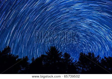 Star Trail Over the Blue Ridge Mountains