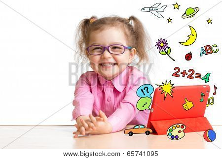 Kid learning or playing with tablet computer