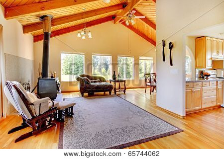 Log Cabin Style House Interior.
