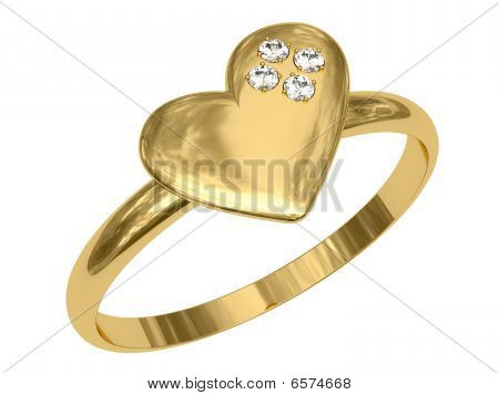 Golden Ring In The Shape Of Heart With Diamonds