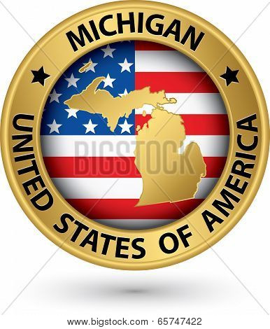 Michigan State Gold Label With State Map, Vector Illustration