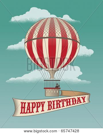 Happy Birthday - Greeting card - Hot air balloon. Vintage vector illustration.