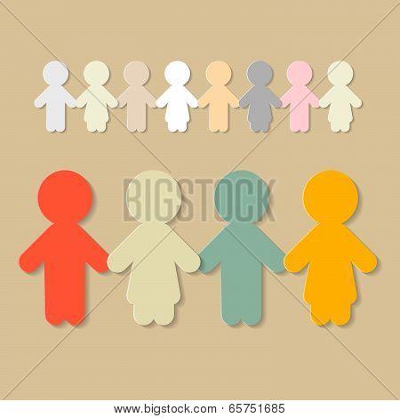 Paper People Holding Hands Illustration