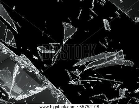 Destructed Or Shattered Glass Isolated On Black