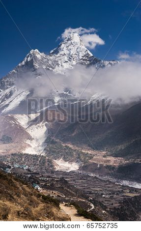 Panoramic View Of Ama Dablam Peak And Himalaya Village