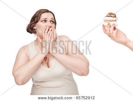 Plus Size Woman Fearing Pastry