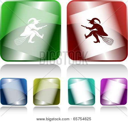 Witch. Internet buttons. Vector illustration.