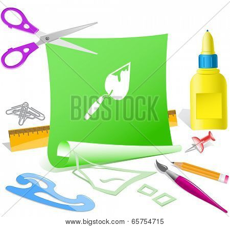 Trowel. Paper template. Vector illustration.