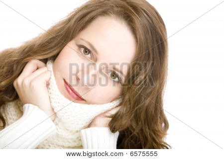 Young Attractive Woman With Scarf Looks Lovely