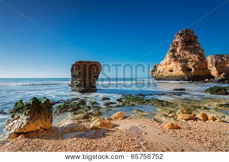 Sea Surf Wave Magnificent Landscape. Portugal, Albufeira.