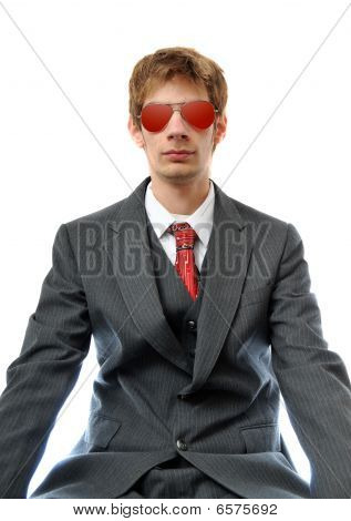 Young Business Man With Red Aviators