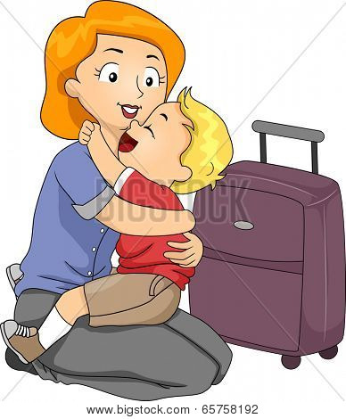 Illustration of a Little Boy Giving His Mother a Hug Before She Leaves for a Trip