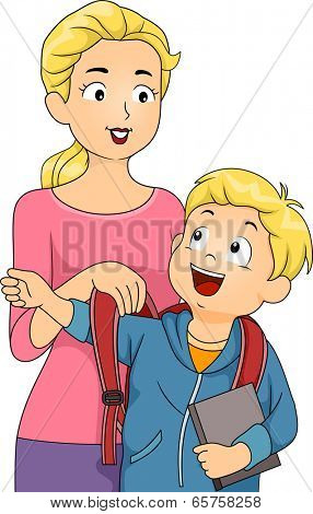 Illustration of a Mother Helping Her Son Put on His Schoolbag