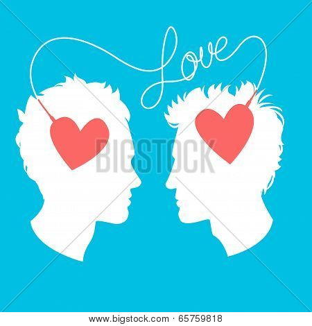 Vector Illustration Of Profiles Of Two Men Connected By Love Wir
