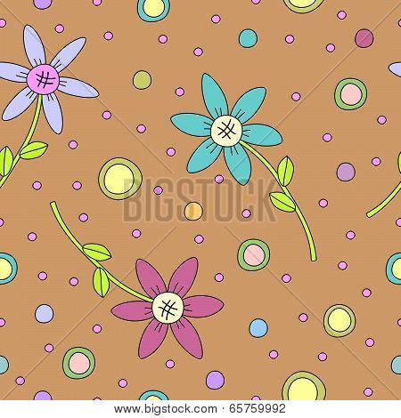 Modern seamless tiling colorful flower texture
