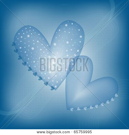 Blue background with abstract hearts and dots