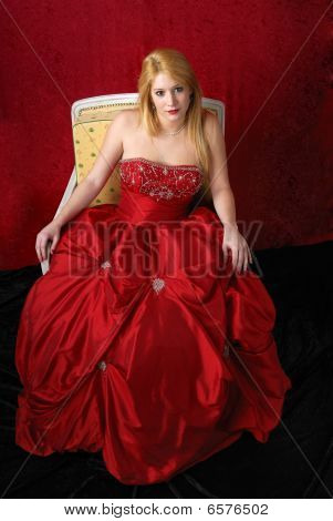Beautiful Young Blond Woman In Evening Dress