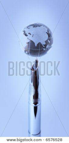 Crystal Globe On Nib Of Fountain Pen