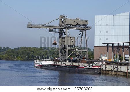 Hamburg - Unloading Coal From A Freighter At The Power Plant Tiefstack