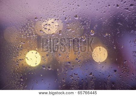 Waterdrops on a window glass