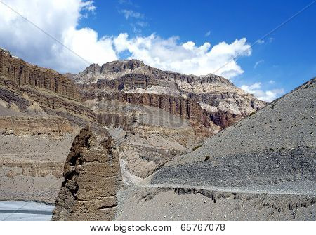 the Road Along The Valley Of The River Kali Gandaki In Upper Mustang, Nepal