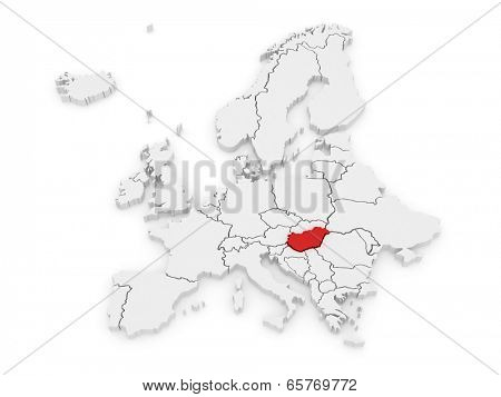 Map of Europe and Hungary. 3d