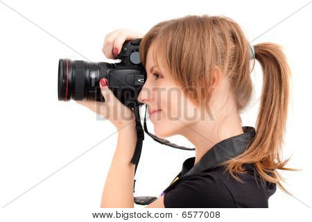 Pretty Woman Making Photograph. Side View