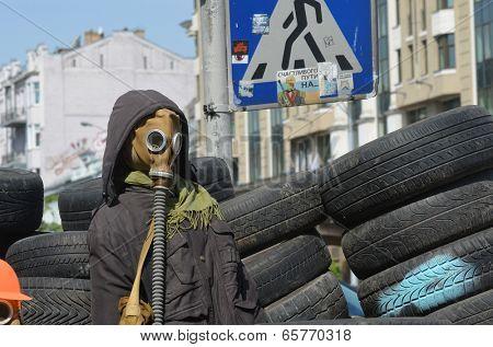 KIEV, UKRAINE - APR 29, 2014: Downtown of Kiev.Camp decoration with military items.Rioters camp.Putsch of Junta.April 29, 2014 Kiev, Ukraine