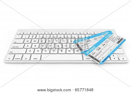 Online Booking Concept. Computer Keyboard With Air Tickets