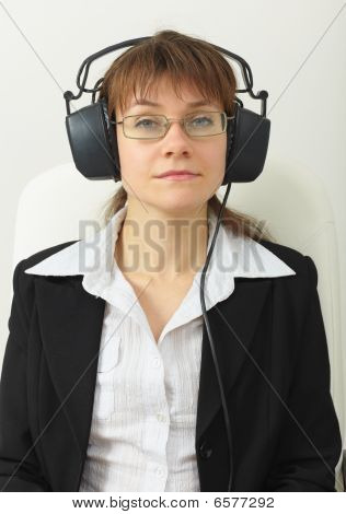 Tired Woman - Sound Technician With Professional Stereos Ear-phones