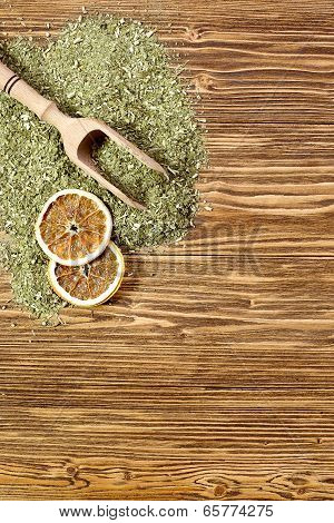 Background - Yerba Mate On A Wooden Table