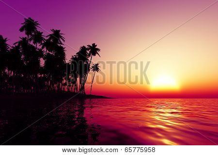 Orange Sunset Over Tropic Sea