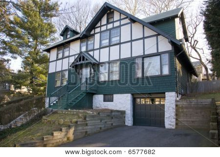 Green Tudor Old-fashioned House