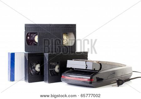 Video Cassette And Vintage Vhs Rewinder