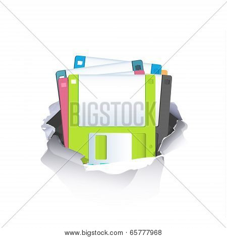 Colorful Diskettes Inside Hole Paper Over White Background
