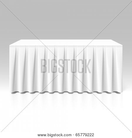 White pleated table-skirting. Vector.