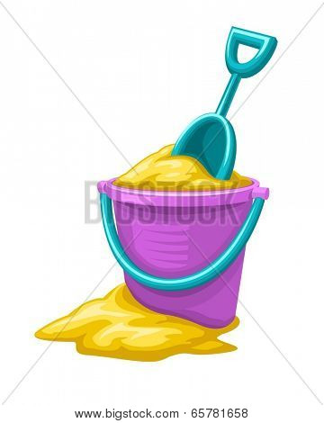Toy bucket with sand and scoop for child game. Eps8 vector illustration.