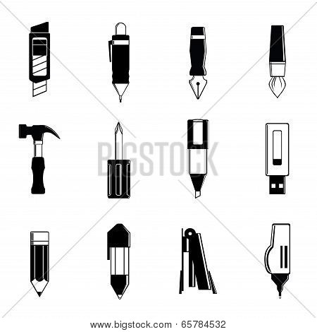 Simple graphic of the stationery vector include, pen, pencil