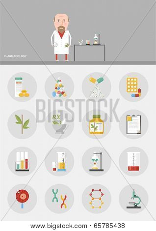 Pharmacology / flat design icons