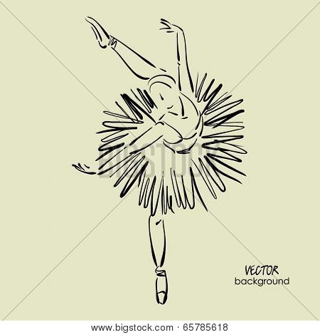 art sketched beautiful young ballerina with tutu in ballet dance on studio