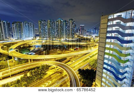 Highway overpass in hongkong public downtown Kwun Tong district