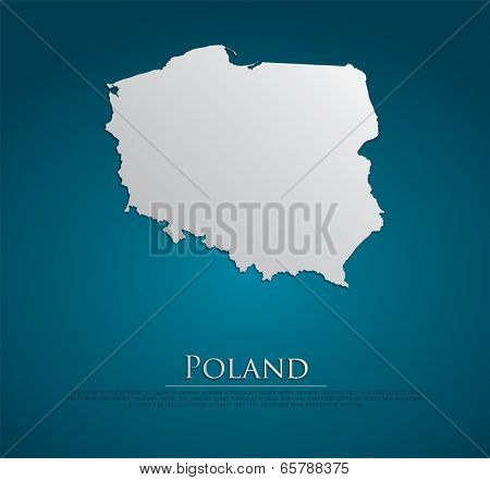 vector Poland Map card paper on blue background, high detailed