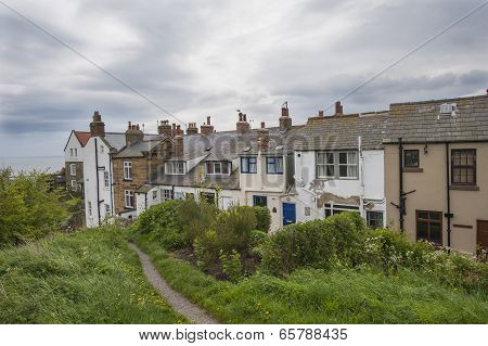 Terraced Houses On English Rural Coastline
